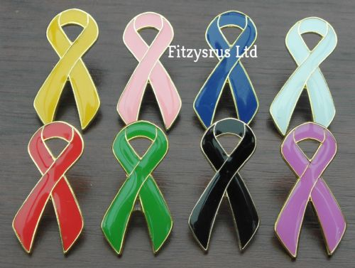 Ribbon Lapel Pin Badge Awareness Brooch Black Blue Green Pink White Red Yellow